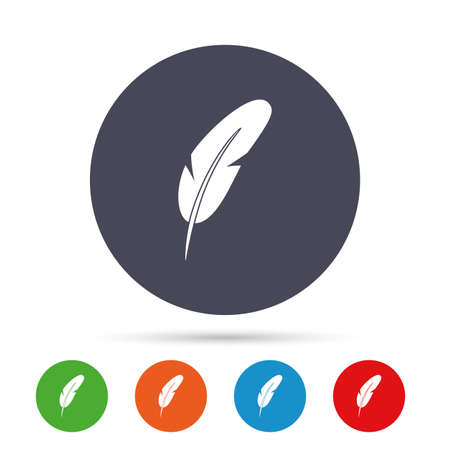 Feather sign icon. Retro pen symbol. Light weight symbol. Round colourful buttons with flat icons. Vector