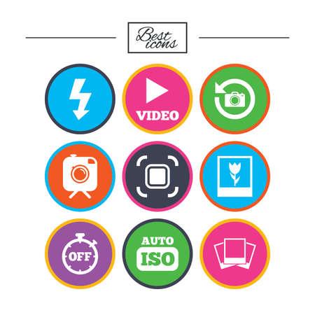 Foto, Video-Icons. Kamera, Fotos und Bildzeichen. Blitz, Timer und Makrosymbole. Klassische einfache flache Ikonen. Vektor Standard-Bild - 78277704