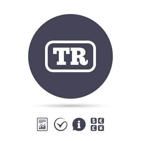 Turks taal teken icoon. TR Turkije vertaal symbool met frame. Meld document, informatie en tick tick iconen aan. Wisselkantoor. Vector