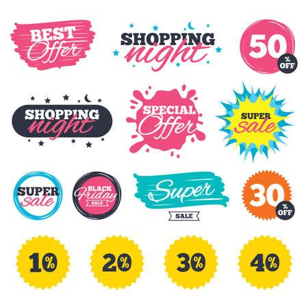 Vente de bannières de magasinage. Offre spéciale splash. Les icônes de réduction de vente. Signaux de prix d'offre spéciale. 10, 20, 30 et 40 pour cent de réduction des symboles. Insignes et autocollants sur le Web. Meilleure offre. Vecteur Banque d'images - 78277739