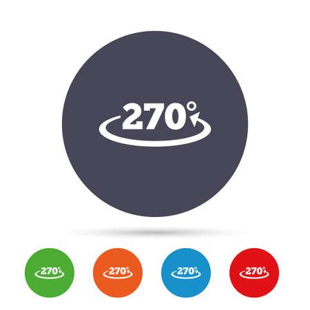 각도 270도 기호 아이콘입니다. 형상 수학 기호입니다. 플랫 아이콘으로 다채로운 단추 라운드. 벡터