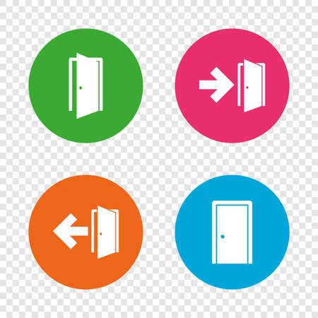 Doors icons. Emergency exit with arrow symbols. Fire exit signs. Round buttons on transparent background. Vector Illustration