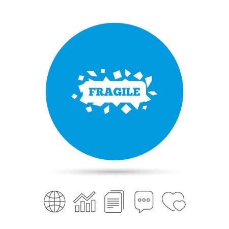 깨지기 쉬운 소포 서명 아이콘입니다. 섬세한 패키지 배달 기호. 파일 복사, 연설 거품 채팅 및 차트 웹 아이콘. 벡터