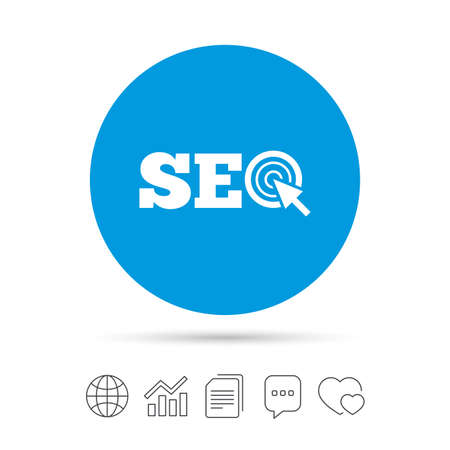 engine: SEO sign icon. Search Engine Optimization symbol. Copy files, chat speech bubble and chart web icons. Vector