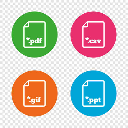 Download document icons. File extensions symbols. PDF, GIF, CSV and PPT presentation signs. Round buttons on transparent background. Vector Illustration