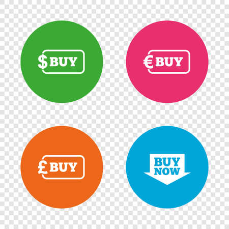 Buy now arrow icon. Online shopping signs. Dollar, euro and pound money currency symbols. Round buttons on transparent background. Vector