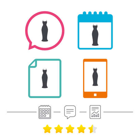Woman dress sign icon. Elegant bride symbol. Calendar, chat speech bubble and report linear icons. Star vote ranking. Vector