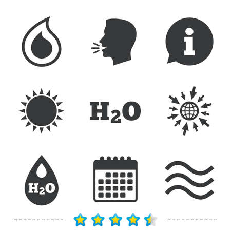H2O Water drop icons. Tear or Oil drop symbols. Information, go to web and calendar icons. Sun and loud speak symbol. Vector