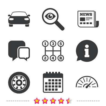 Transport icons. Car tachometer and mechanic transmission symbols. Wheel sign. Newspaper, information and calendar icons. Investigate magnifier, chat symbol. Vector