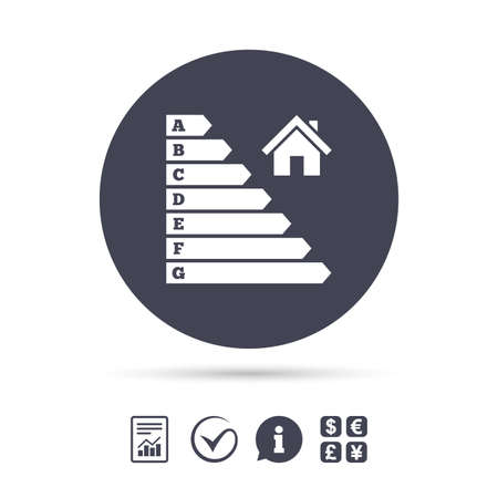 Energy efficiency icon. Electricity consumption symbol. House building sign. Report document, information and check tick icons. Currency exchange. Vector Illustration