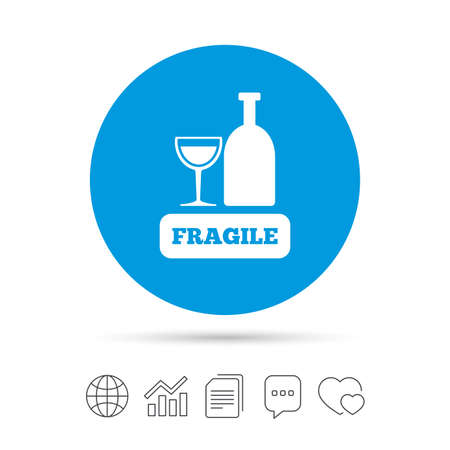 Fragile parcel sign icon. Delicate package delivery symbol. Copy files, chat speech bubble and chart web icons. Vector
