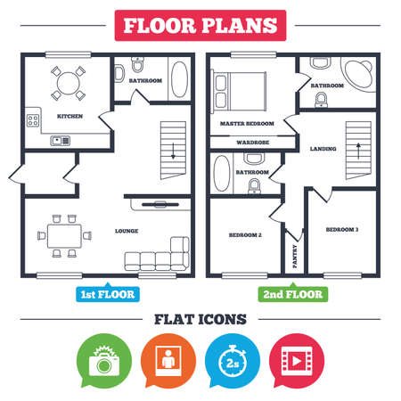 Architecture plan with furniture. House floor plan. Photo camera icon. Flash light and video frame symbols. Stopwatch timer 2 seconds sign. Human portrait photo frame. Kitchen, lounge and bathroom