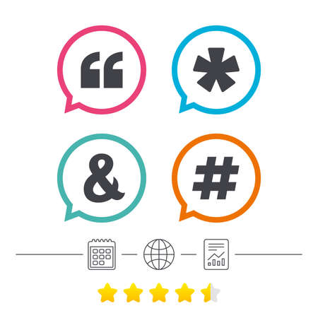 Quote, asterisk footnote icons. Hashtag social media and ampersand symbols. Programming logical operator AND sign. Calendar, internet globe and report linear icons. Star vote ranking. Vector Illustration