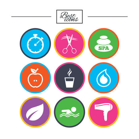 Spa, hairdressing icons. Swimming pool sign. Water drop, scissors and hairdryer symbols. Classic simple flat icons. Vector