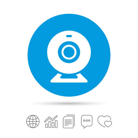 Webcam sign icon. Web video chat symbol. Camera chat. Copy files, chat speech bubble and chart web icons. Vector