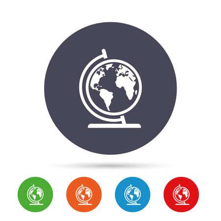 Globe sign icon. World map geography symbol. Globe on stand for studying. Round colourful buttons with flat icons. Vector 向量圖像
