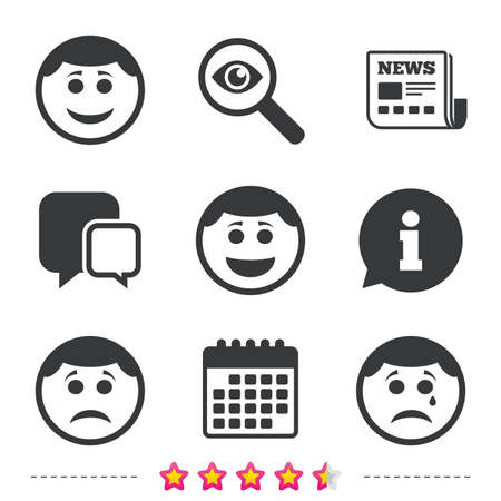 Circle smile face icons. Happy, sad, cry signs. Happy smiley chat symbol. Sadness depression and crying signs. Newspaper, information and calendar icons. Investigate magnifier, chat symbol. Vector Illusztráció