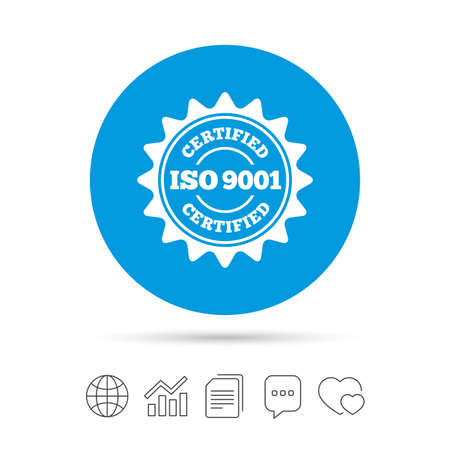 ISO 9001 certified sign icon. Certification star stamp. Copy files, chat speech bubble and chart web icons. Vector
