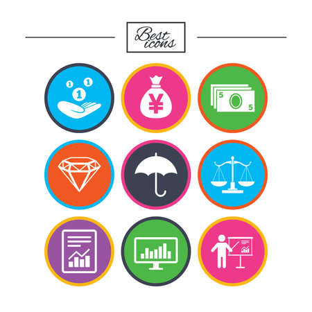 justice scale: Money, cash and finance icons. Money savings, justice scales and report signs. Presentation, analysis and umbrella symbols. Classic simple flat icons. Vector