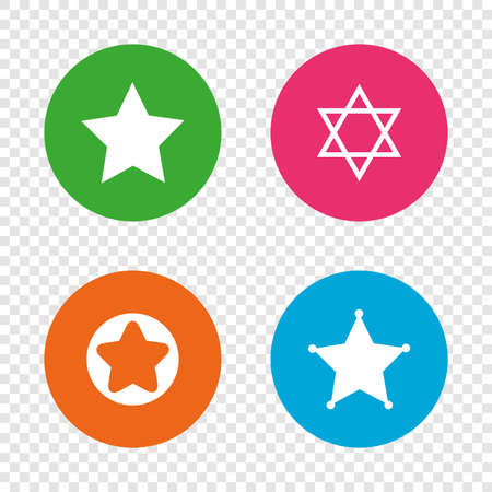 Star of David icons. Sheriff police sign. Symbol of Israel. Round buttons on transparent background. Vector Imagens - 78277714