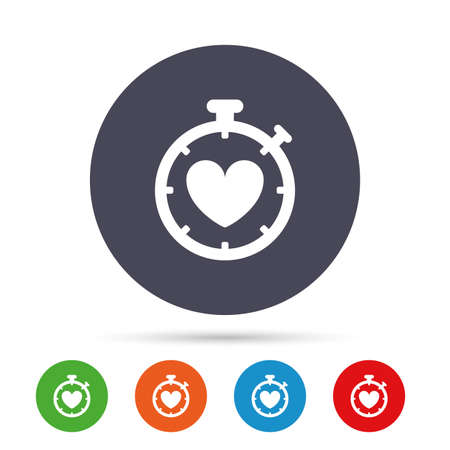 palpitation: Heart Timer sign icon. Stopwatch symbol. Heartbeat palpitation. Round colourful buttons with flat icons. Vector