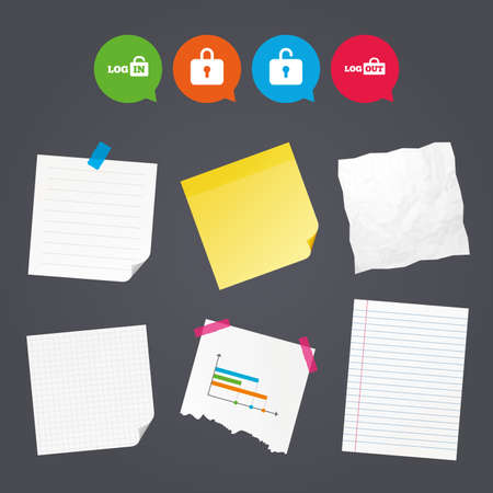 Business paper banners with notes. Login and Logout icons. Sign in or Sign out symbols. Lock icon. Sticky colorful tape. Speech bubbles with icons. Vector