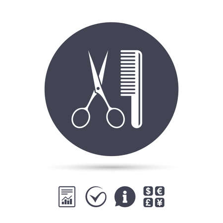 Comb hair with scissors sign icon. Barber symbol. Report document, information and check tick icons. Currency exchange. Vector