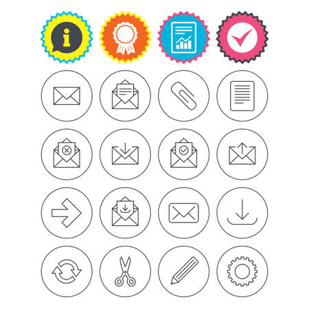 Report, information and award signs. Mail services icons. Send mail, paper clip and download arrow symbols. Scissors, pencil and refresh thin outline signs. Receive, select and delete mail. Vector Illustration