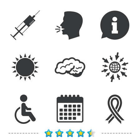Medicine icons. Syringe, disabled, brain and ribbon signs. Breast cancer awareness symbol. Handicapped invalid. Information, go to web and calendar icons. Sun and loud speak symbol. Vector