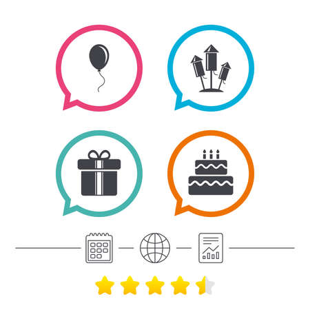 Birthday party icons. Cake and gift box signs. Air balloons and fireworks rockets symbol. Calendar, internet globe and report linear icons. Star vote ranking. Vector