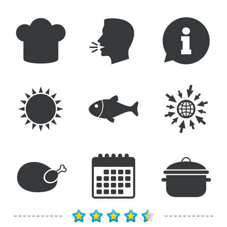 Chief hat and cooking pan icons. Fish and chicken signs. Boil or stew food symbol. Information, go to web and calendar icons. Sun and loud speak symbol. Vector Illustration
