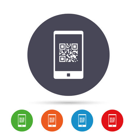 qrcode: Qr code sign icon. Scan code in smartphone symbol. Coded word - success! Round colourful buttons with flat icons. Vector