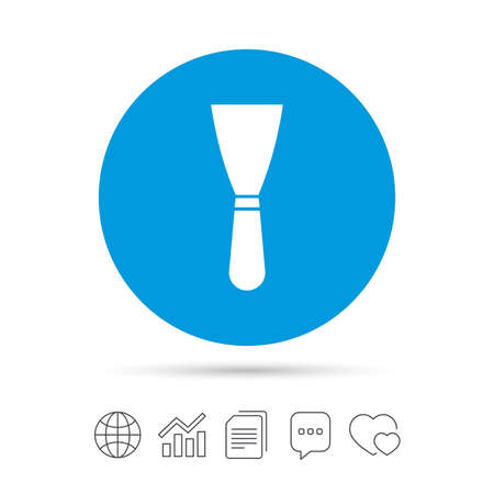 Spatula sign icon. Wall repair tool symbol. Copy files, chat speech bubble and chart web icons. Vector Illustration