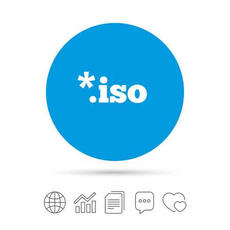 ISO のファイルのアイコン。仮想ドライブ ファイルのシンボルをダウンロードします。ファイルのコピー、音声バブルとグラフ web アイコンをチャッ