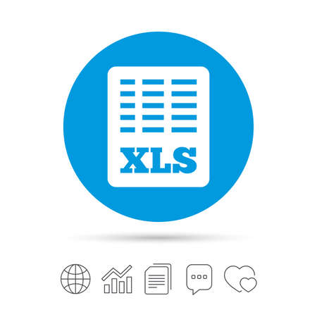 Excel file document icon. Download xls button. XLS file symbol. Copy files, chat speech bubble and chart web icons. Vector Çizim