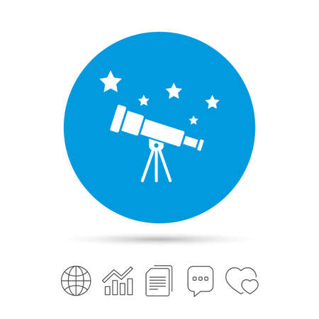 Telescope with stars icon. Spyglass tool symbol. Copy files, chat speech bubble and chart web icons. Vector
