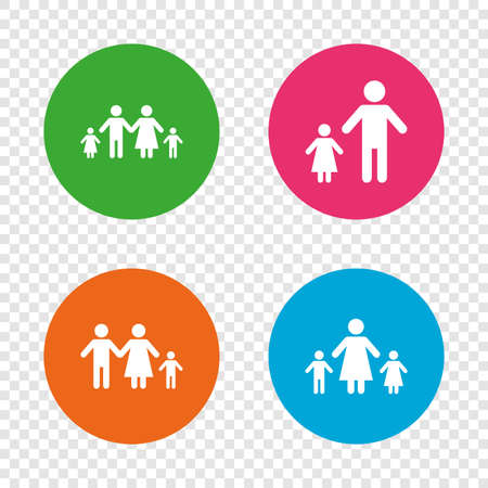 Family with two children icon. Parents and kids symbols. One-parent family signs. Mother and father divorce. Round buttons on transparent background. Vector Illustration