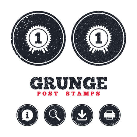 award winning: Grunge post stamps. First place award sign icon. Prize for winner symbol. Information, download and printer signs. Aged texture web buttons. Vector