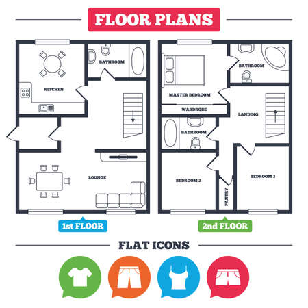 Architecture plan with furniture. House floor plan. Clothes icons. T-shirt and pants with shorts signs. Swimming trunks symbol. Kitchen, lounge and bathroom. Vector Ilustração
