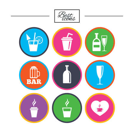 Beer, coffee and tea icons. Beer, wine and cocktail signs. Soft and alcohol drinks symbols. Classic simple flat icons. Vector