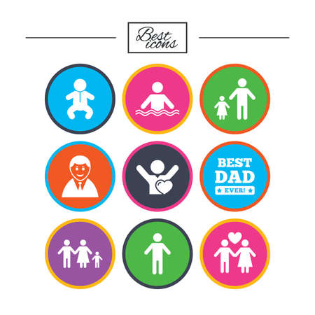 People, family icons. Swimming pool, love and children signs. Best dad, father and mother symbols. Classic simple flat icons. Vector