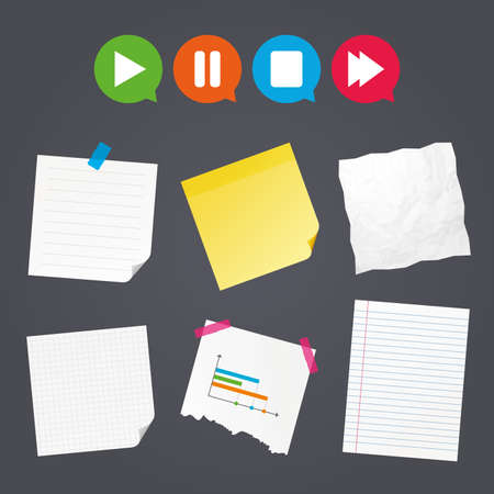 Business paper banners with notes. Player navigation icons. Play, stop and pause signs. Next song symbol. Sticky colorful tape. Speech bubbles with icons. Vector