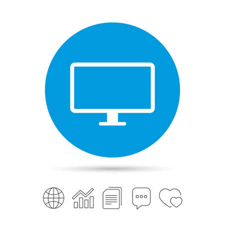 Computer widescreen monitor sign icon. Copy files, chat speech bubble and chart web icons. Vector Illustration
