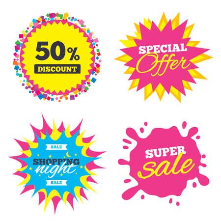 percent sign: Sale splash banner, special offer star. 50 percent discount sign icon. Sale symbol. Special offer label. Shopping night star label. Vector Illustration