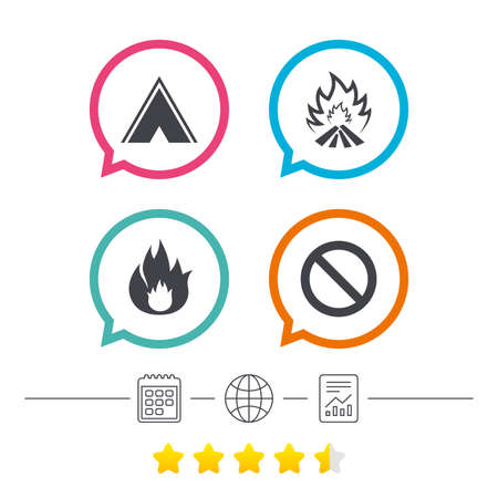 hiking: Tourist camping tent icon. Fire flame and stop prohibition sign symbols. Calendar, internet globe and report linear icons. Star vote ranking. Vector