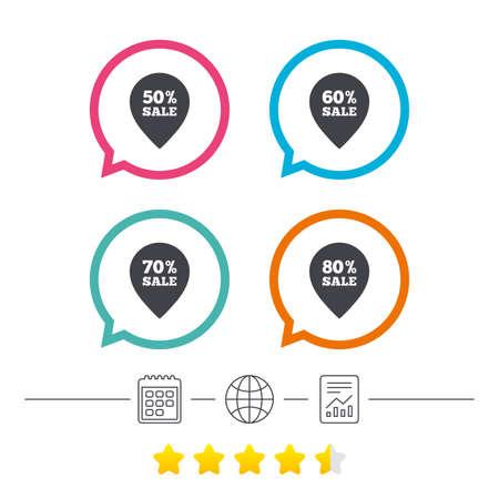 판매 포인터 태그 아이콘입니다. 특별 할인 기호를 할인하십시오. 50 %, 60 %, 70 % 및 80 % 판매 기호. 달력, 인터넷 글로시 및 보고서 선형 아이콘. 스타 투
