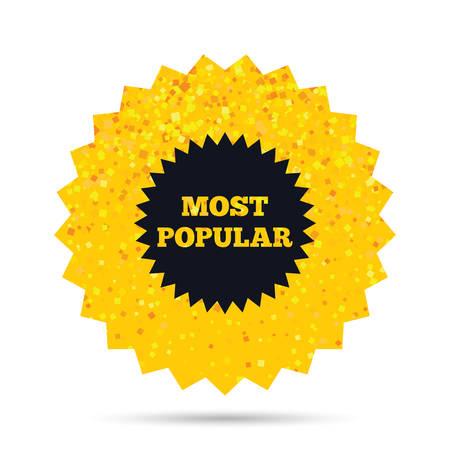 골드 반짝이 웹 단추입니다. 가장 인기있는 기호 아이콘입니다. 베스트셀러 기호. 풍부한 매력 스타 디자인. 벡터