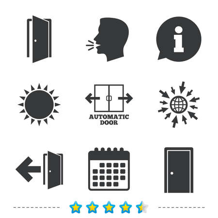 Automatic door icon. Emergency exit with arrow symbols. Fire exit signs. Information, go to web and calendar icons. Sun and loud speak symbol. Vector