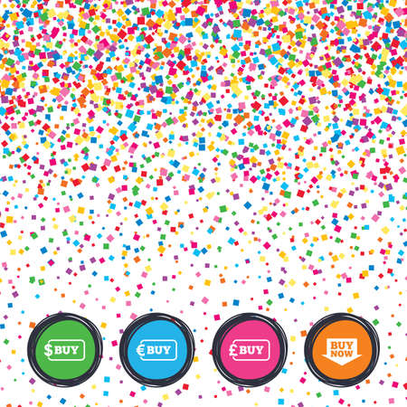 Web buttons on background of confetti. Buy now arrow icon. Online shopping signs. Dollar, euro and pound money currency symbols. Bright stylish design. Vector