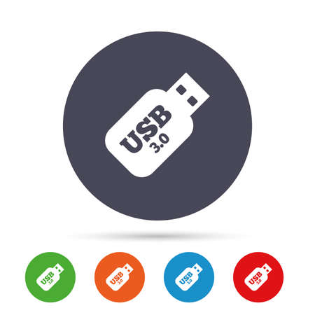 Usb 3.0 Stick sign icon. Usb flash drive button. Round colourful buttons with flat icons. Vector